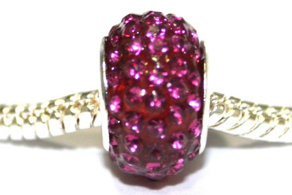 Hot pink 12mm x 8mm Pave crystal bead with 5mm hole PD-S-12- 24